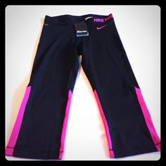 BNWT Nike Pro Hyper Cool Series capris! Dri-Fit Black and pink with mesh calf area! Super cute for summer workouts! Nike Pants Capris