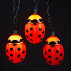 Amazon.com: Set of 10 Ladybug Christmas Lights - Green Wire: Home & Kitchen