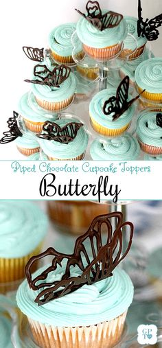 Piped chocolate butterflies cupcake toppers for garden themed girl's birthday party with lots food and decorating ideas.