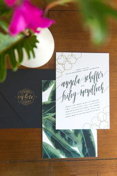 tropical inspired invites | GOLD and green