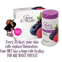 Looking after your body inside & out is vital!!! The juice plus berry capsules are an amazing way to get the nutrition your body needs to become healthier with 26 varieties of fruit and vegetables dried naturally and capsulised you just take 2 a day with a pint of water !! For more info on these please click on the link on my profile x