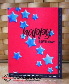 {ARTplorations Stencil Blog Hop DAY 3} Card by LauraJane using ARTplorations Oh My Stars! stencils and Sentiment Builders: Happy stamps