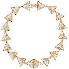 Kenneth Jay Lane Gold-plated Swarovski crystal necklace ($46) ❤ liked on Polyvore featuring jewelry, necklaces, accessories, joias, gold plated necklace, geometric necklace, geometric jewelry, gold plated jewellery and swarovski crystal jewelry