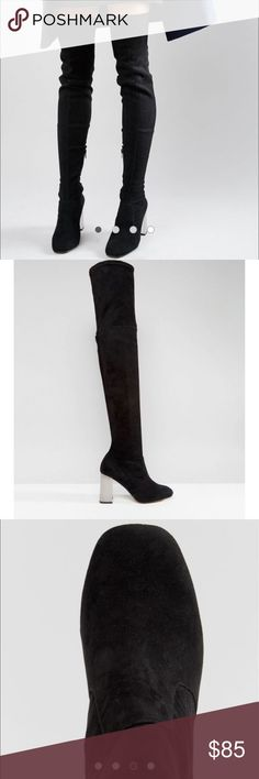 ASOS KALIDA Clear Heel Over the Knee Boots Brand new never been used....                                 Faux-suede upper Side-zip fastening Square toe Over-the-knee length Clear high heel 100% Textile Upper ASOS Shoes Over the Knee Boots