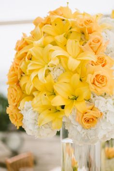 white & yellow centerpiece