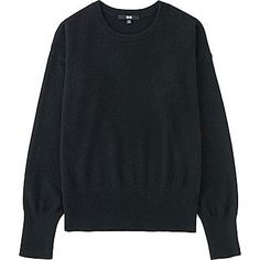Womens Cashmere Crew Neck Sweater, BLACK