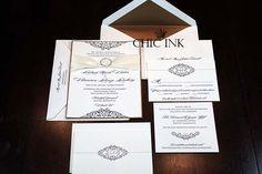 Elegant letterpress wedding invitations created at Chic Ink