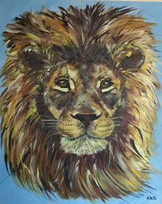 A painting of an African male lion painting created with acrylics on canvas - Kelly Goss Art