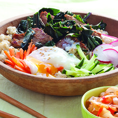 Greens are an essential part of any rice-bowl dish. This version features pork, but you could easily use beef, chicken, fish, or tempeh, and you can sub in any seasonal veggies.