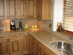 Oak Cabinets With Granite Countertops | Rustic Oak Kitchen Cabinets With  Light Colored Granite Countertop