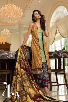 Mustard/Green Embroidered Lawn Suit $169.99 DESIGNER LAWN 2014 Pakistani Indian Dresses Online, Men Women Clothing and Shoes | PakRobe.com
