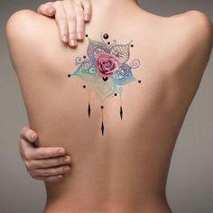 Unique Rose Mandala Back Tattoo Ideas for Women - Metallic Watercolor Floral Flower Chandelier Tat - ideas únicas para el tatuaje de rosa - www.MyBodiArt.com #tattoos