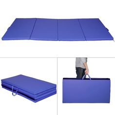 costway blue thick folding panel gymnastics mat gym fitness exercise mat for sale