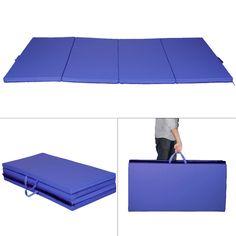 "Durable 4'x8'x2"" Blue Thick Plushed Folding Gymnastics Mat"