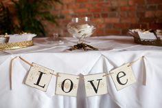 Love banner on guest book table or head table   Asheville North Carolina Biltmore Estate Wedding: Julie   Adam
