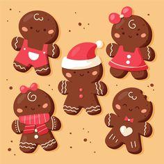 Gingerbread Man Vectors, Photos and PSD files Christmas Drawing, Christmas Art, All Things Christmas, Christmas Labels, Christmas Gift Wrapping, Ginger Man Cookies, Gif Mignon, Polymer Clay Christmas, Christmas Characters