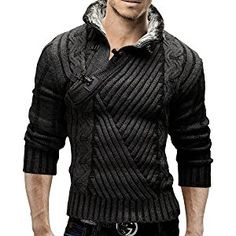Merish Strickpullover Pullover Fellkragen Strickjacke Hoodie Slim Fit Herren 548