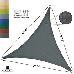 LyShade 910 x 910 x 910 Triangle Sun Shade Sail Canopy with Stainless Steel Hardware Kit Cool Grey  UV Block for Patio and Outdoor -- Visit the image link more details.