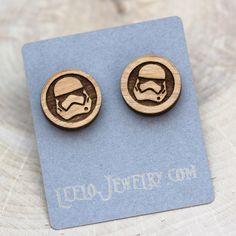 Wooden Storm Trooper Earrings