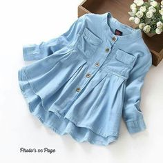New Spring 2016 Girls blouses&Shirts denim Baby Girl Clothes Casual Soft Fabric Children Clothing Kids girls blouse Shirt Kids Outfits, Casual Outfits, Fashion Outfits, Style Fashion, Fashion Fabric, Denim Fashion, Fashion Clothes, Fashion Hacks, Classy Fashion