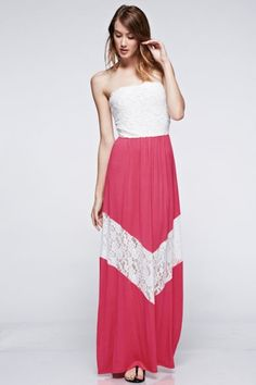 *** Laced Chevron Maxi Dress *** Strapless laced chevron maxi jersey dress with elastic banded on waistline.