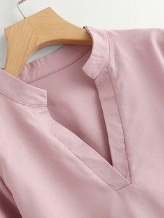 Plus V Neckline Pearl Beaded Dip Hem Blouse Pink Neck Designs For Suits, Neckline Designs, Fancy Blouse Designs, Designs For Dresses, Dress Neck Designs, Churidar Neck Designs, Kurta Neck Design, Kurta Designs Women, Pakistani Dresses Casual