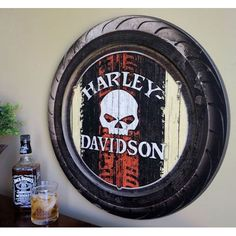 Harley-Davidson Raised Tire with Skull Logo