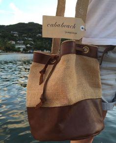 Nouveauté Cababeach Guadeloupe : Sac bandoulière en toile de jute et cuir véritable : Sacs bandoulière par cababeach