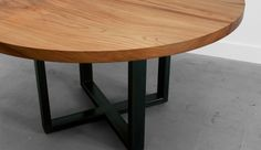 """The Bowen Table is created from 100 year-old flooring from demolished warehouses in Brooklyn, New York. A solid 3"""" thick top from reclaimed pine sits on a 3"""" x 3"""" blackened or powder coated steel base. This base is also available with a thinner 2"""" top in various species of wood."""