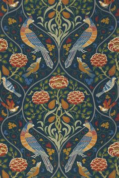 An Art Nouveau Garden of Eden which could have been created by famous artist of the time Heinrich Vogeler. With sumptuous colours like green, red, . Hallway Wallpaper, I Wallpaper, Wallpaper Samples, Pattern Wallpaper, Papier Peint Art Nouveau, Mandala Art, Heinrich Vogeler, Fireplace Feature Wall, Art Nouveau Wallpaper