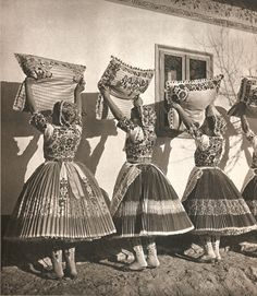 These photographs are taken from a cloth-bound book called 'Images of Hungary'--that being an educated guess on the translation of the Hungarian title. Folk Costume, Costumes, Family Roots, Folk Dance, Bound Book, World Cultures, Fashion History, Traditional Dresses, Hungary