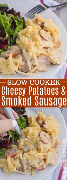 The perfect fall comfort food all made in the slow cooker. This simple Slow Cooker Cheesy Potatoes and Smoked Sausage is sure to please the family. Sausage Crockpot Recipes, Smoked Sausage Recipes, Crockpot Recipes Cheap, Breakfast Crockpot Recipes, Pork Recipes, Dinner Recipes, Smoked Sausages, Crockpot Meals, Potluck Slow Cooker Recipes