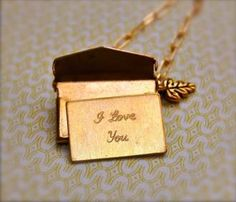 Brass Love Letter Necklace-I have always been fascinated by this design in charms.