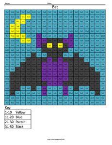 Bat Color fun math practice Free multiplication Worksheet