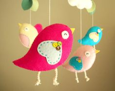 Baby crib mobile Bird mobile Owl mobile felt mobile by Feltnjoy