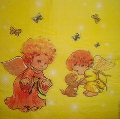 Купить ост 1 шт Салфетка Два ангелочка - салфетка, Декупаж, карта, салфетки