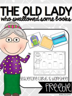 Bloggers Love Books - There Was An Old Lady Who Swallowed Some Books FREEBIE and lesson plan ideas