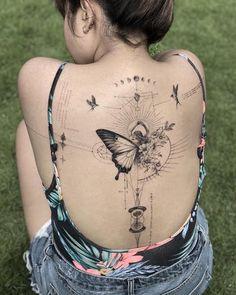 Girl Back Tattoos, Back Tattoo Women, Tattoo Girls, Time Tattoos, Body Art Tattoos, New Tattoos, Tatoos, Unique Tattoos, Beautiful Tattoos