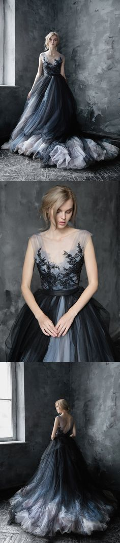 Tulle Wedding Dress, Applique Wedding Dress, Sleeveless Bridal Dress, Charming Wedding Dress#weddingdresses