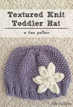 Little Miss Stitcher: Textured Knit Toddler Hat Free Pattern hat kids toddlers Knitted Hats Kids, Baby Hats Knitting, Knitting For Kids, Free Knitting, Knitting Projects, Crochet Hats, Knit Hats, Baby Hat Patterns, Baby Knitting Patterns
