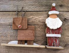 Reclaimed Barn Wood - Wooden Santa Claus and Reindeer (Set of 2) Christmas Decoration on Etsy, $35.00