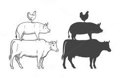 Chicken Pork Cow Farm Animals Vector - Illustrations - 1