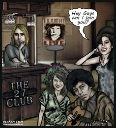 The 27 club amy winehouse by on DeviantArt Famous People That Died, Layne Staley, Louis Armstrong, Band Memes, Janis Joplin, Rock Legends, Amy Winehouse, Club, Kurt Cobain
