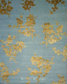 Spray (Emma Gardner) / Floral Area Rug / Blue & Gold // Tibetan Rugs Collection | Silk and Wool Rugs | Wool Rugs | Contemporary Rugs | Modern Rugs - Weavers Art