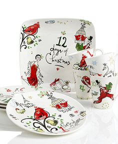 Two things i miss most about macy's the fact that Christmas starts in August, and my discount.Lenox Serveware, 12 Days of Christmas Collection - Holiday Dinnerware - Holiday Lane - Macy's-Cute dishes Christmas China, Christmas Dishes, Lenox Christmas, Christmas Events, 12 Days Of Christmas, Christmas Ideas, Christmas Crafts, Christmas Table Settings, Christmas Tablescapes
