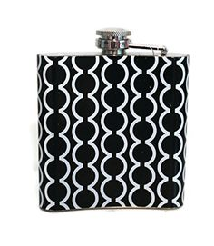 Mainstreet Collection 6 Oz Stainless Steel Flask Girls Night Out (Black & White Semicircle Cross) MainStreet Collection