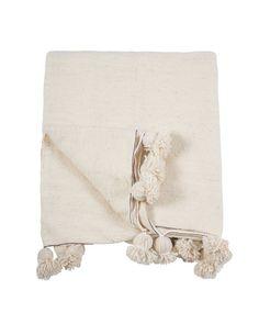 Pom Pom Blanket, Off-White / Silver - Indigo&Lavender - $180 - domino.com