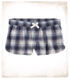 Aerie Plaid Flannel Boxer in Navy Mood