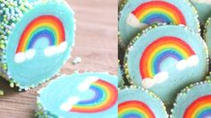 Rainbow with Clouds Cookies Slice & Bake 무지개 구름 쿠 :  Eugenie Kitchen -  2 Oct 2015