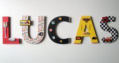 "Disney Cars Wall Letters, 8"" 3D Custom Wall Letters, Disney Cars Wall Art, Kids Race Car Room Decor, Personalized Gift, Disney Nursery"